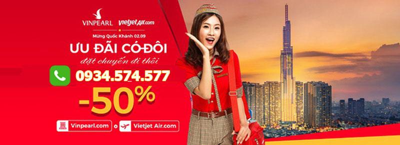 Giảm 50% vé máy bay Vietjet Air và giá phòng khách sạn tại Vinpearl