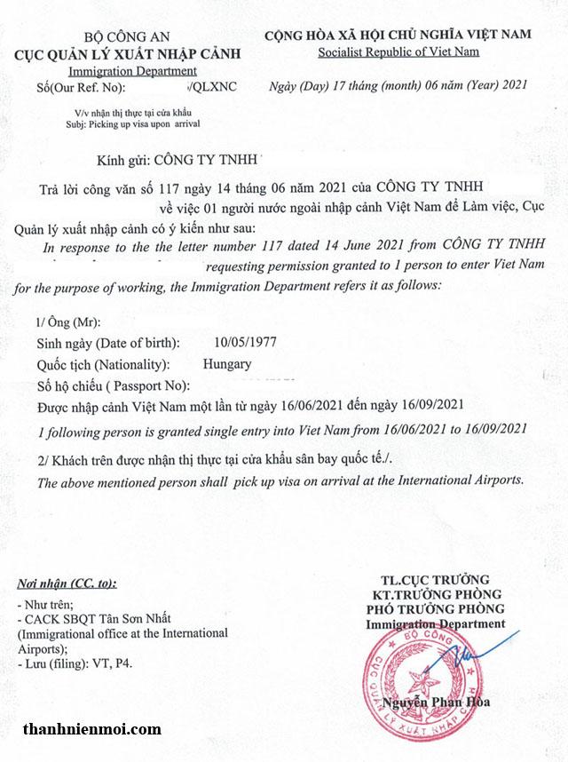 Mẫu công văn nhập cảnh Việt Nam 2021