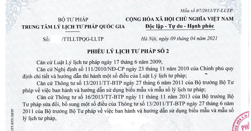 Nhận làm phiếu lý lịch tư pháp cho người Việt Nam ở Mỹ, Canada và Châu Âu