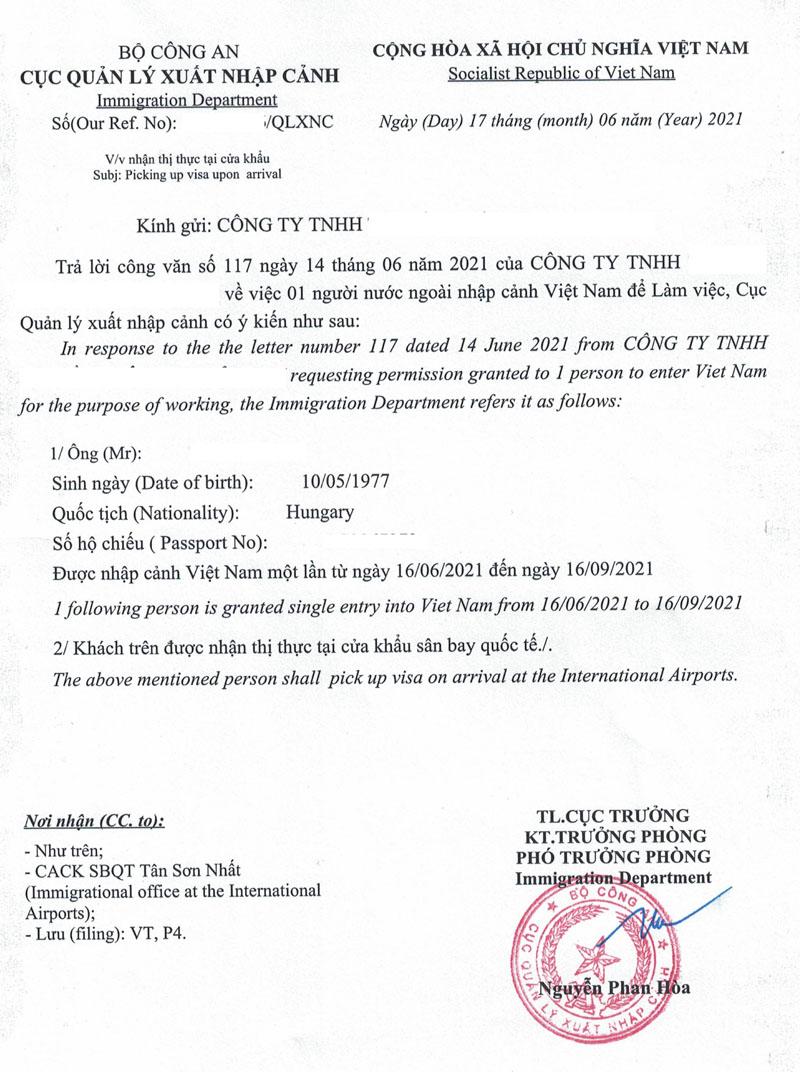 Mẫu công văn nhập cảnh Việt Nam cho chuyên gia