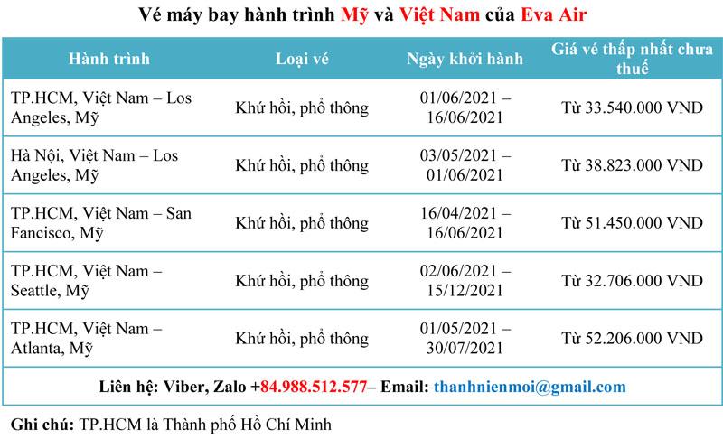 Bán vé máy bay hành trình Mỹ và Việt Nam của Eva Air