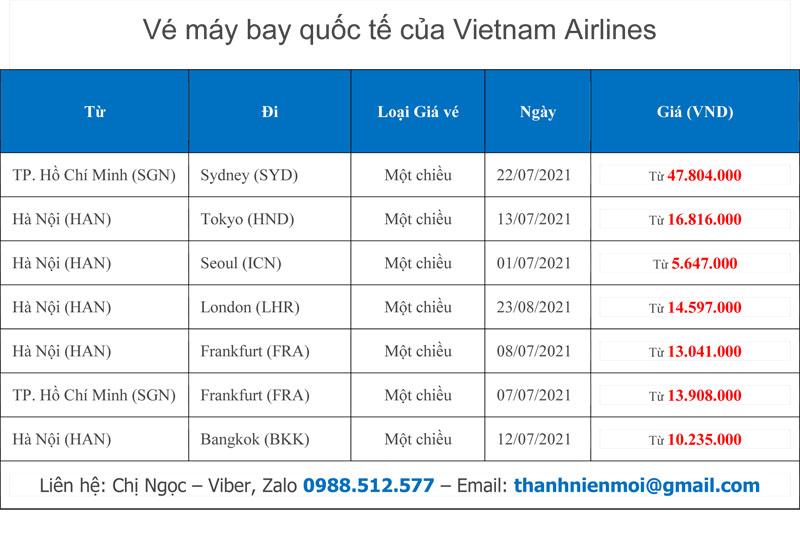 Lịch bay quốc tế của Vietnam Airlines