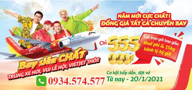 Vé máy bay trong nước Vietjet Air đồng giá 555.000 đ/chiều
