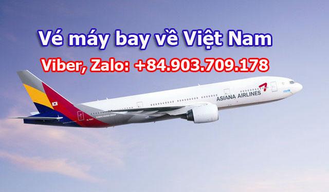 Vé máy bay từ Mỹ về Việt Nam của Asiana Airlines quá cảnh Hàn Quốc
