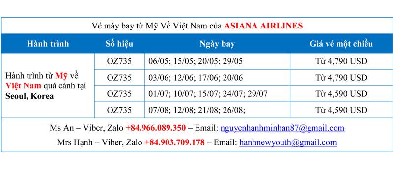 Thông tin về vé máy bay từ Mỹ về Việt Nam của Asiana Airlines