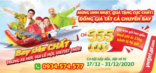 Vé máy bay trong nước đồng giá 555.000 đ nhân dịp sinh nhật Vietjet
